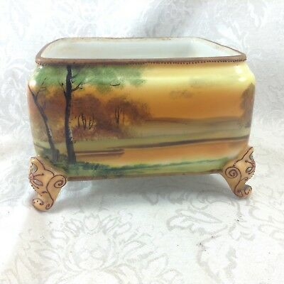 Nippon Japanese Hand Painted Square Centerpiece Footed Bowl Planter Display Dish
