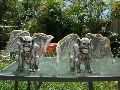Two Gargoyles with Lighted Eyes Halloween Prop Used