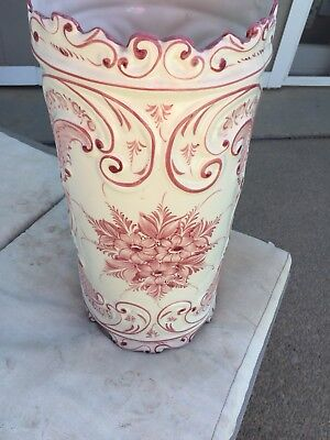Porcelain PINK AND WHITE Planter VASE - Umbrella Stand - Brush POT - URN