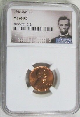 1966 SMS Lincoln Memorial Cent/Penny -  NGC MS 68 RD Red (1-013)