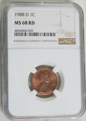 1988 D Lincoln Memorial Cent/Penny -  NGC MS 68 RD Red (8-020)