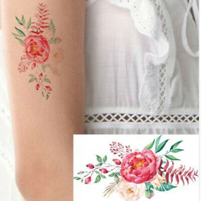 66206b66039c5 Small Red Pink Rose Flower Leafs Women Realistic Temporary Tattoo Women