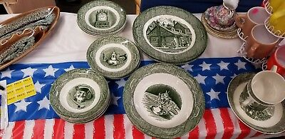 Royal China The Old Curiosity Shop Green Lot of 25 pieces