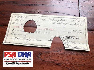 THOMAS A. EDISON * PSA/DNA * $100,000 Hand SIGNED Check * AUTOGRAPH