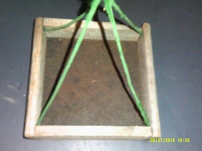Old Primative Small Square Wooden Frame Screen Bottom Creek Sifter