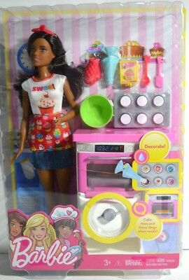 Barbie Bakery Chef Nikki Doll and Playset- Brunette Doll Oven Cupcakes