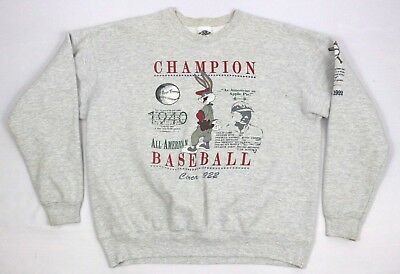VTG Acme Clothing Looney Toons Bugs Bunny Baseball Gray Crewneck Sweater Size L