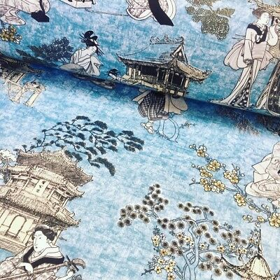 Geisha Japanese Pagoda Oriental Twill Curtain Fabric Material 140cm wide Blue
