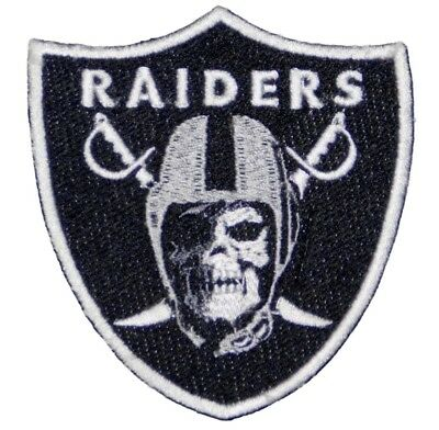 (1) FLAWED Oakland Raiders SKULL Iron On Patch embroidered team logo LAS VEGAS