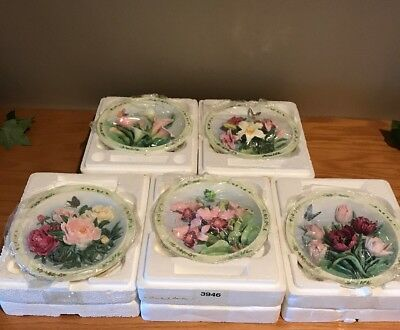 5 Bradford Exchange LENA LIU'S BEAUTIFUL GARDENS Collector Wall Hanging Plates