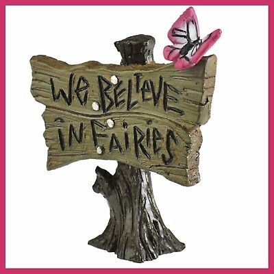 "Fairy Garden Fun We Believe in Fairies Sign Accessory 2 5/8"" Dollhouse Mini LG n"