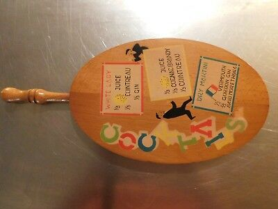 Vintage wooden  Gordon Gin cocktails wall hanging cutting board