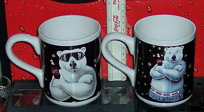 Coca - Cola Brand Ceramic Polar Bear & Coca - Cola  Coffee Mugs