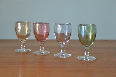 Vintage 4 x shot glasses coloured small liqueur harlequin mid century ylbt1