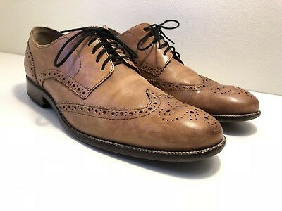 Cole Haan Mens Wing Tip Dress Shoes Size 10 M Light Brown Leather