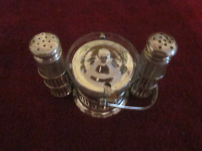 c.1930 Sterling Silver Breakfast Server / Covered Jam, Salt & Pepper, basket