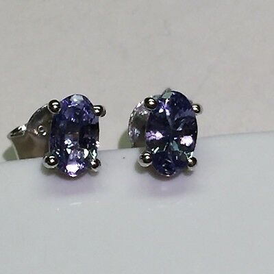 Natural 1ct Blue Tanzanite 925 Solid Sterling Silver Stud Earrings 4mm