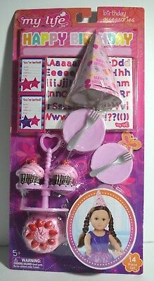 """My Life Doll Birthday Accessories Cake Hat Cake Cupcakes Plates Forks 18"""""""