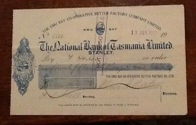 Tasmania Cheque Emu Bay Butter Factory 1917