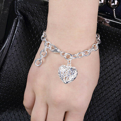 Exquisite Hollow Heart Pendant Charm Heart Bangle Bracelet Chain HY