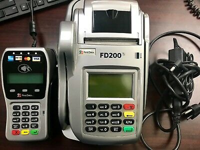 First Data FD200 Ti Credit Card Terminal & Check Reader w/Pin Pad & Paper *USED*