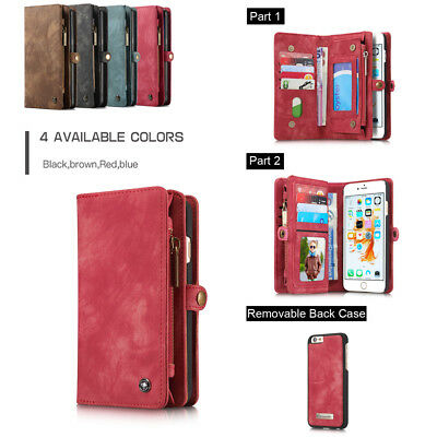 Luxury Leather Removable Case Cover For iPhone X/8/7/6/Plus Magnetic Slot Flip