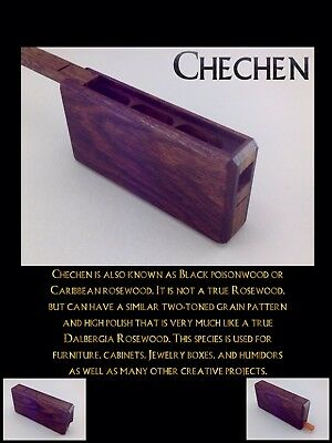 Handmade 3 chamber (Chechen) exotic wood One Hitter Box, Dugout