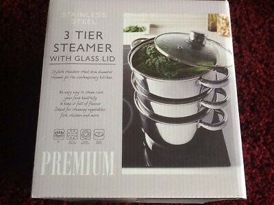 Stainless Steel 3 Tier Steamer With Glass Lid Premium Cooking Pan Poaching Pot