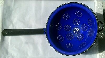 Vintage Blue Enamel Kitchen Colander Sieve Strainer - Retro Kitchenalia