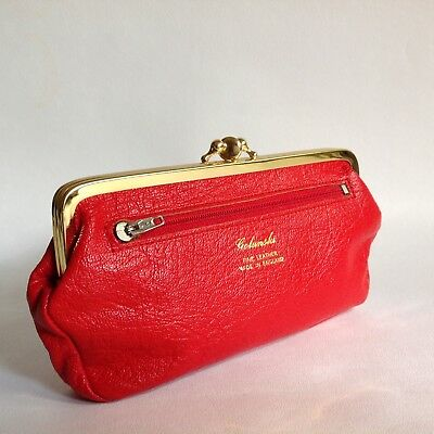 Golunski Red 1980s Large Leather Faux Suede Lined Double Sided Kiss Clasp Purse