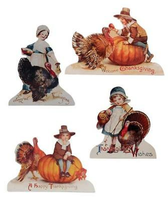 Bethany Lowe Thanksgiving Boy and Girl Pilgrim with Turkey Dummy Board-Set of 4
