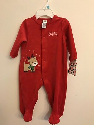 little me my first christmas pajamas velour sleeper footed santa claus 6 mth 34