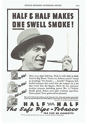 Vintage, Original, 1936 -Half and Half Tobacco Advertisement - Cigarette, Pipe