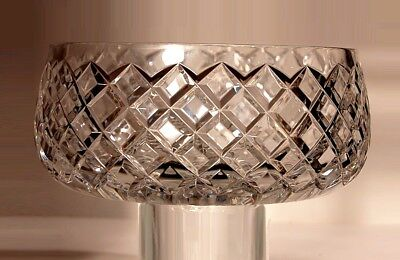 """STUNNING Antique House of Waterford Handmade Diamond Wedge Cut 9"""" Crystal Bowl"""