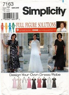 Simplicity Women's Dress Pattern 7163 Size 18W-24W UNCUT