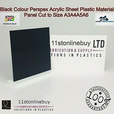 Black Colour Perspex Acrylic Sheet Plastic Material Panel Cut to Size A5 A4 A3