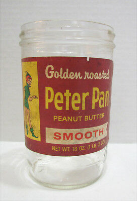 PETER PAN PEANUT BUTTER VINTAGE JAR W/ LABEL 1950's or 1960's GOLDEN ROASTED