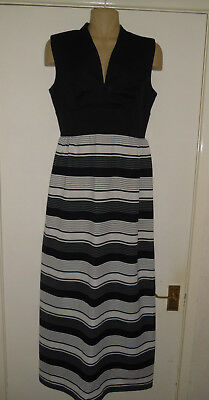 STUNNING vintage 1960s 1970s black and white maxi dress 10 12