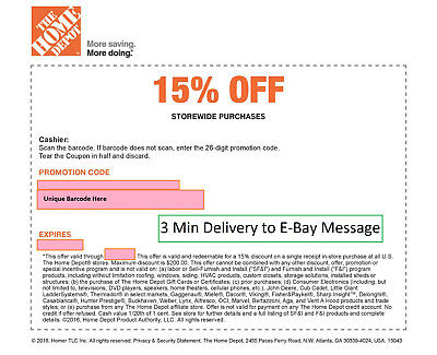ONE 1x Home Depot 15% Off-1coupon- max saving 200$- In Store Only--