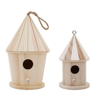 Wooden Bird House Birdhouse Hanging Nest Nesting Box Hook Home Garden Decor S