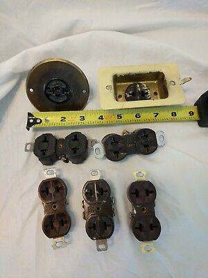 Lot of Vintage Brown Double 2 Prong 20 amp Wall Outlets