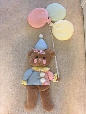 1980s Vintage Pastel Baby Bear With Balloons Wall Hanger Rare Canada