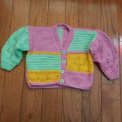 Vintage Handmade Colorblock Cardigan Crochet Knit Sweater Baby Girls 12 Months