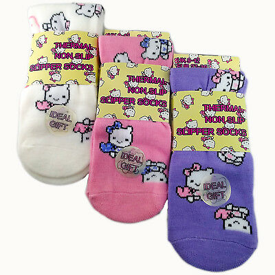 3 Pairs Girls Boys Kids Non Slip Thermal Slipper Socks Warm Soft Kitty Design