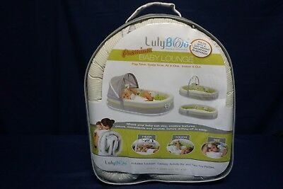 Lulyboo Premium Baby Lounge Portable Bassinet W/ Canopy Activity Bar & 2 Rattles