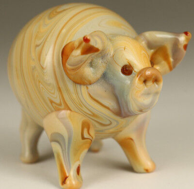 rare chinese old Coloured Glaze Hand blow Carved Pig Statue Figure collectable