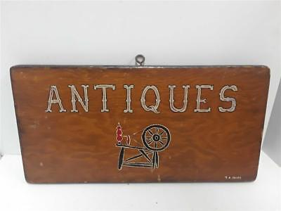 """Vintage Wood Painted """"Antique"""" Sign Singed by Artist"""