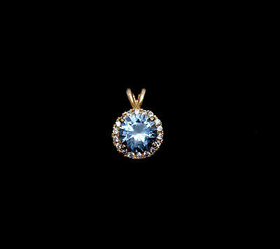1.25 ct Round Blue Diamond Pedant 14K Yellow Gold Solitaire Halo Charm Necklace