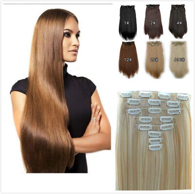 8 Pcs/set 22'' Clips In Hair Extensions Synthetic Straight Hair Hairpiece 55cm