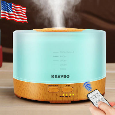 LED 500ml Ultrasonic Humidifier Essential Oil Diffuser Aromatherapy Air Purifier
